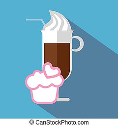 A glass of coffee with ice cream an