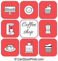 A set of coffee items, cup of coffee with steam, cake,...