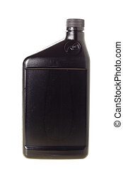 Container - One quart black oil bottle isolated on white...