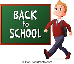 Back to school vector illustration. Proud and cheerful pupil...