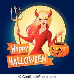 Halloween vector card. Sexy lady in red Halloween costume of a devil with horns and trident holding jack-o -lantern pumpkin basket.