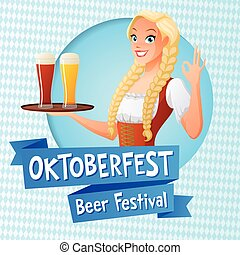 Oktoberfest vector card. Cute girl in national German outfit...