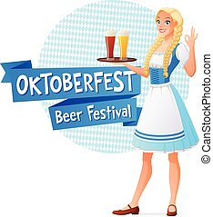 Oktoberfest vector banner. Beautiful woman in traditional...