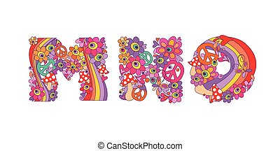 Hippie childish alphabet with colorful abstract flowers,...