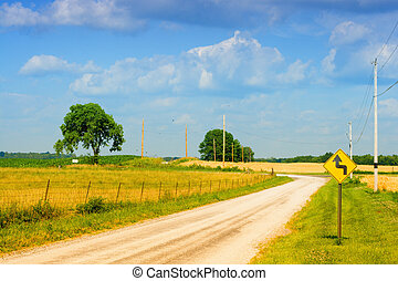 Country road - Small road curving though farmland in Central...