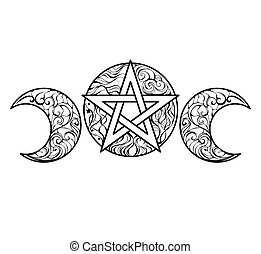 line art pentagram - Pentagram with magic elements line art...
