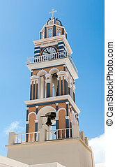 Colorful bell tower in Santorini