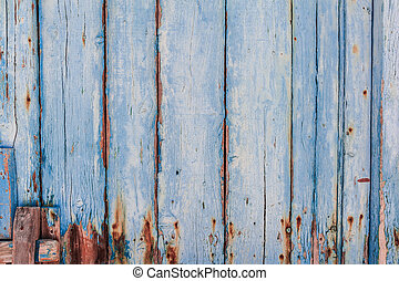 Texture of Wood panel painted of blue