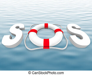 SOS - Life Preserver on Water Surface - The acronym SOS with...