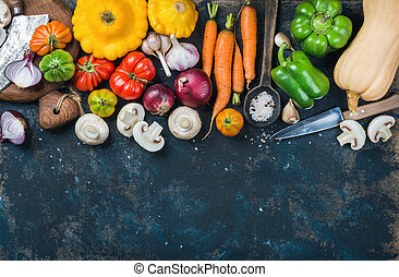 Fall harvest vegetable ingredients for healthy cooking, copy...