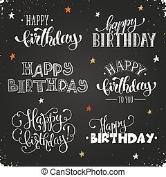 Print - Hand written Happy birthday phrases. Greeting card...