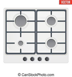 surface of gas stove - Surface of white gas hob Top view of...
