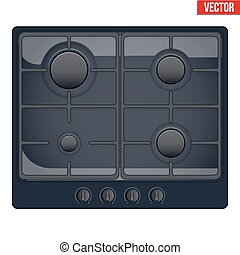 surface of gas stove - Surface of black gas hob Top view of...