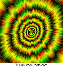 Color Explosion in Yellow Green and Red - An abstract image...
