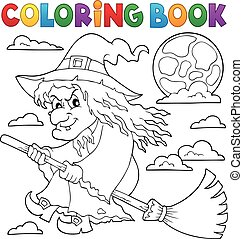 Coloring book witch on broom