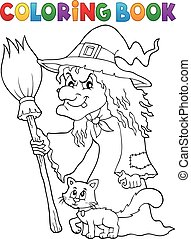 Coloring book witch with cat and broom