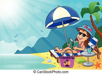 Girl on sun lounger image