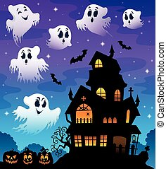 Haunted house silhouette theme