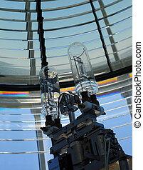 Lighthouse light bulb interior - Closeup inside of a...