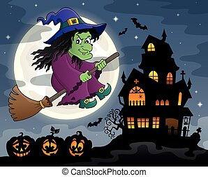Witch on broom theme