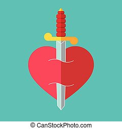 Heart with dagger icon illustration - Heart with dagger icon...