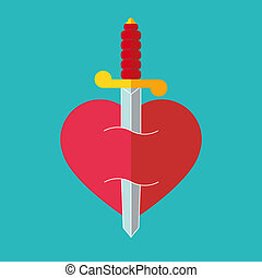 Heart with dagger icon illustration