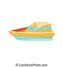 Cutter Toy Boat Bright Color Icon In Simple Childish Style...
