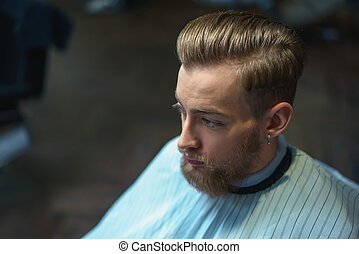 Male face - Young man in barber shop