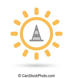 Isolated line art sun icon with a road cone