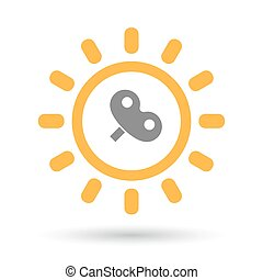 Isolated line art sun icon with a toy crank - Illustration...