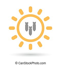 Isolated line art sun icon with three bombs falling