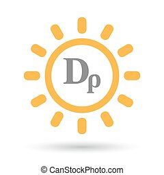 Isolated line art sun icon with a drachma currency sign -...
