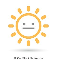 Isolated line art sun icon with a emotionless text face -...