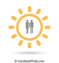 Isolated line art sun icon with a heterosexual couple...