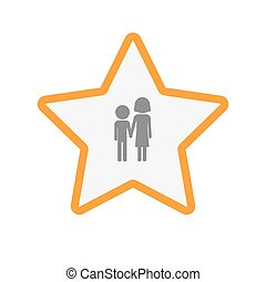 Isolated line art star icon with a childhood pictogram -...