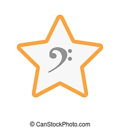 Isolated line art star icon with an F clef