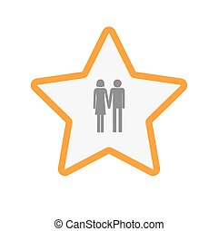 Isolated line art star icon with a heterosexual couple...