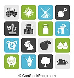 Agriculture and farming icons - Silhouette Agriculture and...