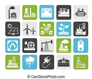 Energy source icons - Silhouette Electricity and Energy...