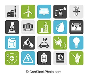 energy and electricity Source icons - Silhouette Power,...