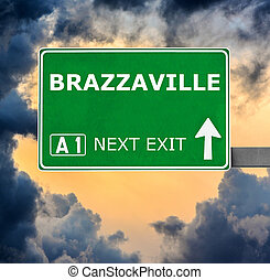 BRAZZAVILLE road sign against clear blue sky