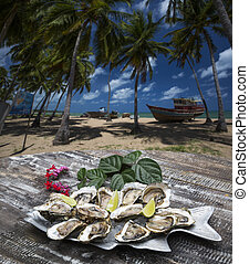 Tasty oysters on ice with lemon.