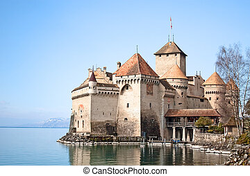 Switzerland - Chateau de Chillon on the lake Leman near...