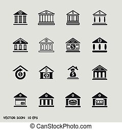 Bank icons set - Finance and business vector icon set in...
