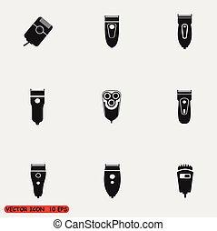 Set of vector electric razor icons