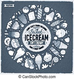 Set of Ice Cream cartoon doodle objects, symbols and items