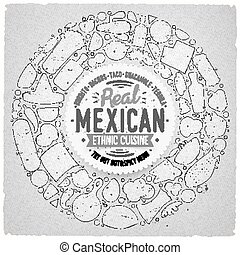 Set of Mexican food cartoon doodle objects, symbols and items