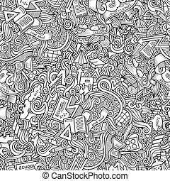 Cartoon cute doodles School seamless pattern - Cartoon cute...