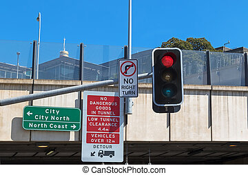 Road sign : No dangerous goods in tunnel, low tunnel...