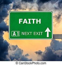 FAITH road sign against clear blue sky